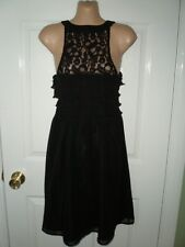 LADIES BLACK SLEEVELESS SHEER DRESS - SIZE 10 TALL - NEXT - LACE DETAIL - SUPERB