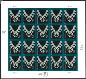2006 NAVAJO JEWELRY MNH Sheet 20x2¢ Stamps #3752 Native American Design Necklace