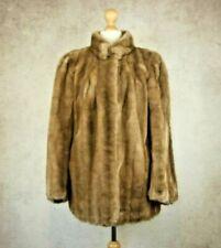 Tissavel France Vintage Beige Cream Faux Fur Coat Size L Cape