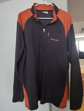 Columbia Men's Xl Fleece 1/4 Zip Pullover Orange Gray