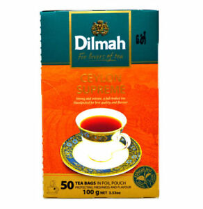 """Dilmah """"CEYLON SUPREME"""" Fine Tea Strong and intense Handpacked Pack 50 Tea Bags"""