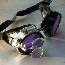 Steampunk goggles Victorian glasses novelty costume welding lens goth GGG -blue