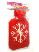 Large Hot Water Bottle 2L Knitted Cover Red Cream Snowflake Winter Warm Xmas