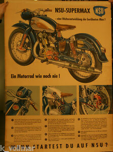 NSU SUPER  MAX / Original Plakat aus der Zeit um  1954 / Motorrad - Plakat