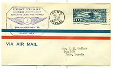 1927 CAM FLIGHT COVER 18W8 ELKO,NV. TO RENO,NV. BY BOEING AIR TRANSPORT