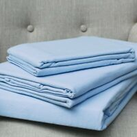 100% Brushed Cotton Flanelette Superking Fitted Sheet in Blue 33cm Deep