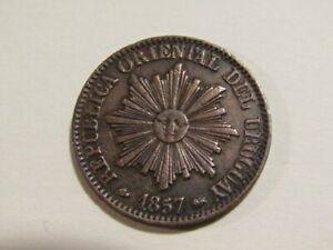Uruguay 1857-D 5 Centesimos Old Coin