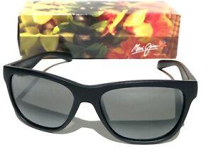 NEW* Maui Jim Secrets Matte Black Sunglasses Polarized Gray Mirrored Lens 767-2M