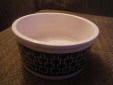 """NEW Pet Trends 6"""" Diameter x 2.75"""" Tall Ceramic Geometric Black Dog Cat Bowl"""