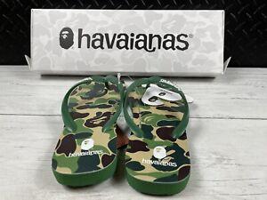 AUTHENTIC A BATHING APE BAPE x HAVAIANAS ABC CAMO SLIPPER GREEN US 9/10W NEW
