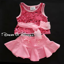 Build-A-Bear PINK SEQUIN BOW TUNIC TOP & FLARED CORD SKIRT Teddy Clothes Outfit