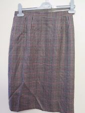 Genuine Burberry Brown Tweed Houndstooth Pattern Skirt Size S UK 8 Euro 36