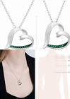 Heart Pendant Necklace with Green Diamond in Rhodium Plated Brass