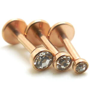 """Rose Gold Tone 1/4"""" 2-3mm Earrings Clear Tragus Triple Helix Rings Ring 18G NEW"""