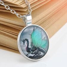 Vintage Dragon Cabochon Pendant Tibetan silver Glass Chain Necklace Gift