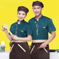 86c66511bc8 Women Men Chef Uniform Jacket Coat Kitchen Short Sleeve Cooker Work  Restaurant