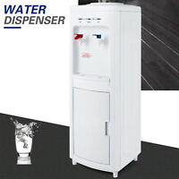 Freestanding Water Hot Cold Dispenser Top Load Water Cooler w/ Storage Cabinet