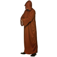 Mens Jedi Hooded Robe Brown Costume for Star Wars Space Rogue Hero Fancy Dress