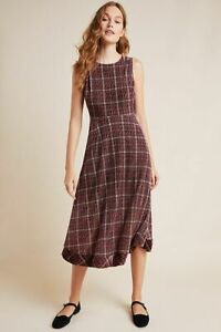 Anthropologie Romy Plaid Velvet Midi Dress size  XL new nwt