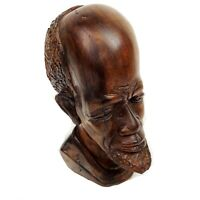 Ebony Iron Wood Carving Shona(?) African Tribal Head Bust Statue Signed Mpofu