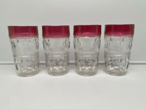 Vintage Indiana Glass Kings Crown Thumbprint Ruby Red Water Glass - Set of 4