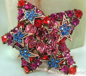 Star Red Blue Pink Multi Crystal CZ Brooch Pin