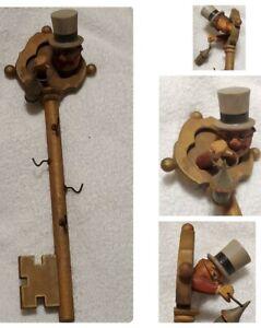 "Vintage 12"" Key Hanger 4 Key Hooks ANRI Italy Man w/ Tophat & Lantern XL Wooden"