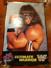 """Vintage WWF Ultimate Warrior 22X34"""" Poster RARE WWE WCW ECW TNA ROH NXT NWA NEW"""