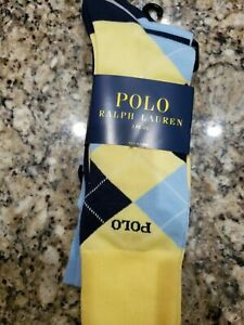 POLO RALPH LAUREN MEN'S YELLOW NAVY ARGYLE/SOLID SOCKS COTTON/POLY 3 PAIRS NIP