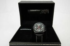 Torgoen Swiss T5 Mens Black 42mm Aviation Pilot Wrist Watch Leather Band