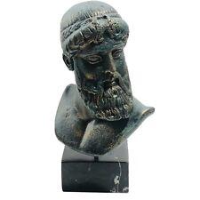 Signed G. Lioulias Magnesite Greek God Poseidon Bust Statue Marble Base