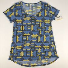 NWT Lularoe Classic T Small Short Sleeve Knit Top Blue Yellow Print Triangles
