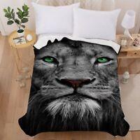 3D King Lion Velvet Plush Throw Blanket Sherpa Home Bedding Thin Quilt 60''×80''