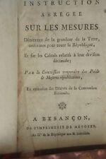 INSTRUCTION ABREGEE SUR LES MESURES...ET SUR LE CALCUL...AN II  1793 SCIENCES ME