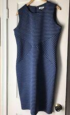 Calvin Klien Dress 14 Twilight Blue Tin Gray Striped Sheath Career