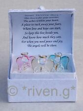 GUARDIAN ANGEL GLASS GIFT WORRY BOX ORNAMENT WITH POEM INSIDE LID@BLESSING BOX