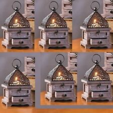 6 Small Lantern Wood Candle Holder Wedding Centerpieces With Drawer