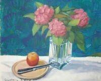 Vintage signed oil painting  still life. Vase of Hydrangeas by R.A. GWATKIN