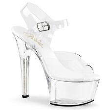 "6"" Clear Lucite Black Sole Pleaser Platform Stripper Dancer High Heels Shoes"