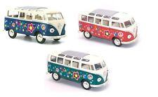"3PC SET: 7"" Kinsmart 1962 VW Volkswagen Bus Decal Diecast Model Toy Car Van 1:24"