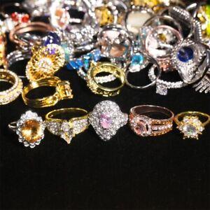 100pcs Women Lady's Jewelry Mixed Lots Rhinestone Gold P Fashion Rings Wholesale