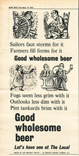 Authentic 1954 The BREWERS' SOCIETY 'Good Wholesome Beer' Vintage Magazine Ad