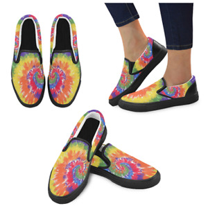 Women's Custom Made to Order Limited Edition Tie Dye Canvas Slip on Skate Shoes