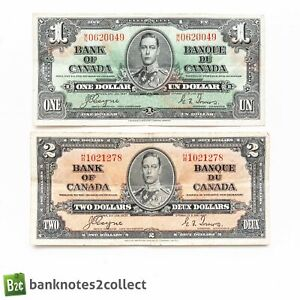 CANADA: Set of 2 Canadian Dollar Banknotes. Dated 02.01.37.