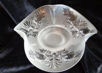 Vintage Fenton Art Glass Crystal Satin Pineapple Ruffled Candy Dish