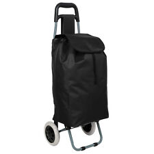 Trolley sacca per la spesa con 2 ruote carrello con borsa pieghevole nero nuovo