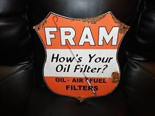 Antique style porcelain look Fram filters Service station gas pump dealer sign