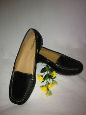 I LOVE COMFORT MADDY BLACK LEATHER FLATS LOAFERS MOCS SHOES WOMEN'S SIZE 10 M