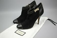 Gucci Black GG Leather Boots Shoe Size 38.5