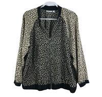 Susan Graver Women's Plus Size 1X Zip Bomber Jacket Tan Black A257107